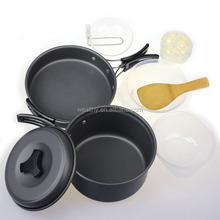8pcs Outdoor Hiking Backpacking Picnic Cooking Bowl Pot Pan Camping Cookware Set Travel Kit