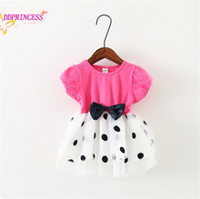 colorful children summer dress bow tie design polk dot kids summer wear baby clothing factory price