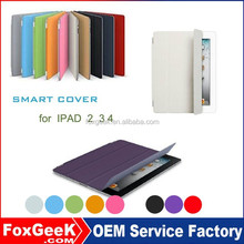 New Arrival smart cover and back case for ipad 2 3 4 with stand and protective cover 9 colors option