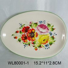 Nice flower decal ceramic plate for tableware