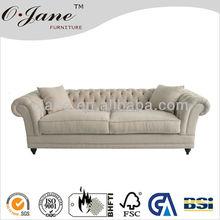 Classic fabric linen living room sofa antique furniture