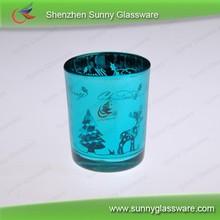 Blue engraving home decoration glass votive candle holder