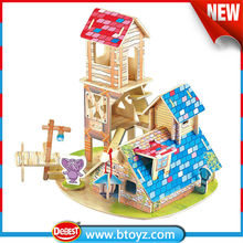2015 toys children toy Wooden Toys outdoor wooden tree house with animal