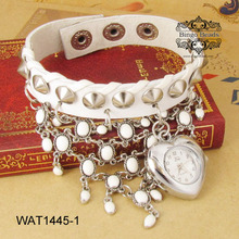White Jewelry Watches For Teenagers Heart Shape Watch Case
