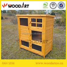 Three Part Design Outdoor Wooden Rabbit Hutch With Run And Ladder