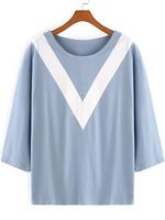 T-shirts Tops fashion women girl clothes Blue Round Neck V Print Loose T-Shirt Tshirt