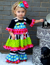 Wholesale childrens boutique clothing 3 pcs boutique dresses and ruffle pants sets importing baby clothes from china.