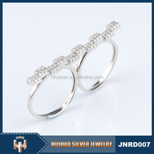 unique design women's jewelry 925 sterling silver finger two in one ring
