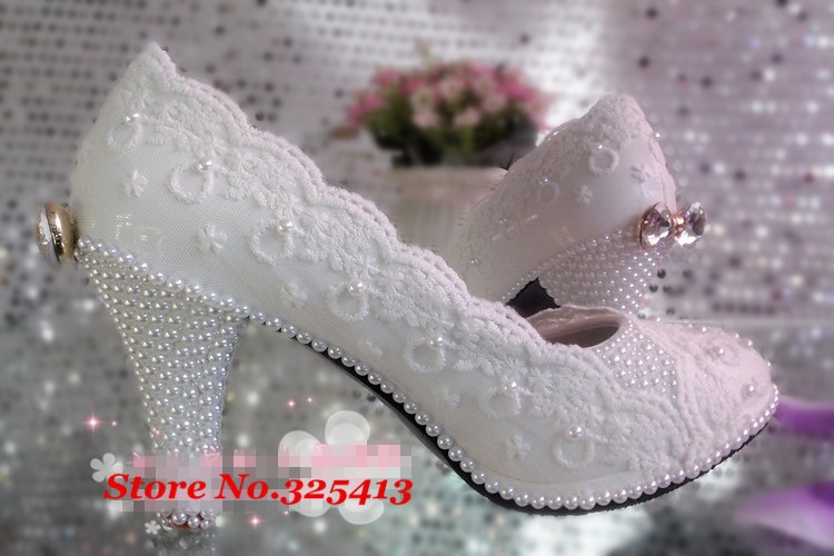Lace flower wedding shoes high-heeled platform white pearl crystal bow bridal shoes bridesmaid shoes