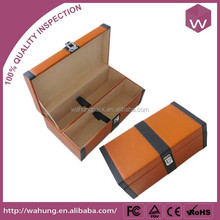 Hot-Selling PU Leather Wine Carrier Box Customized Packaging Box For Wine Bottles