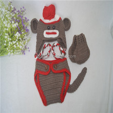 Crochet costume monkey hats and diaper cover,baby knitted costume,newborn costume