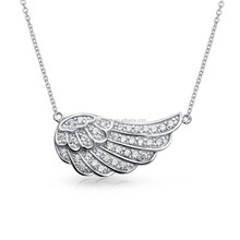 Personalized Sterling Silver Angel Wing Pendant Necklace