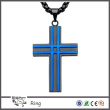 New religious Jewelry all matte finished black and blue IP layer stainless steel men's cross pendant