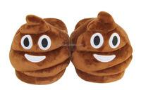 Winter bedroom children's emoji plush cotton poop slipper with china factory price
