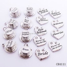 Design your own birde and groom top hat and heart shape charm for wedding