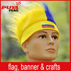 custom elastic synthetic fiber Colombia colors headband fans wig, wholesale Columbia sport fans wig for football games