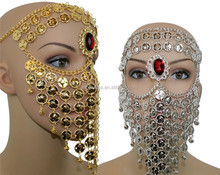 Gypsy coins face veil for belly dance