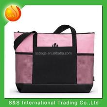 2015 new design fashionable lady mesh hand bag pink tote bag