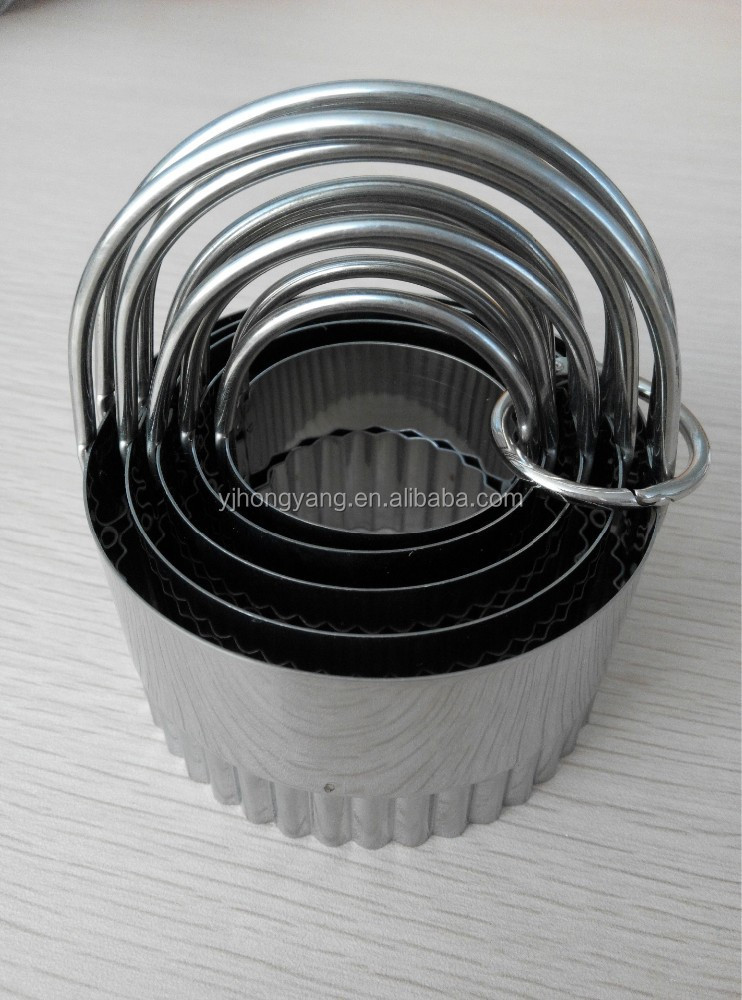 5pcs stainless steel cookie press and cutters set round shaped