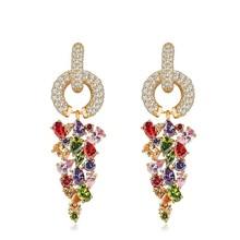 Multicolor fashion drop earrings for women 2015 gold zircon long tassel earrings fancy earrings for party girls and wedding