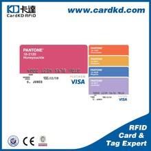Cheapest credit cards size film lamination plastic pantone color card, color shaped cards