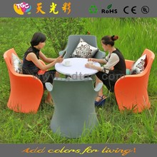 PE material plastic table and chairs multicolored furniture champagne cork stool