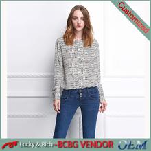 Nueva moda para mujer de manga larga blusa de seda venta al por mayor