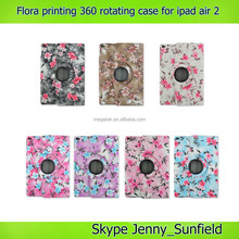 Super slim flora printing pu leather 360 rotating case for ipad air 2 , for ipad air 2 case rotating