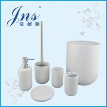 6 pcs round white ceramic hotel balfour bathroom accessory