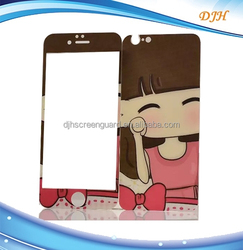 NOA Cartoon figured colorful tempered glass screen protector for iphone 6 plusfront and back