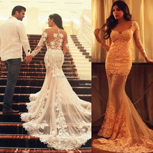2015 Unique Lace Mermaid Wedding Dresses Champagne Applique Crystals Sweetheart Long Sleeve Elegant Bridal Gowns FMG14