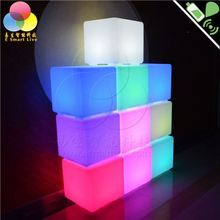 wholesale plastic lighting chair,16 color change and remote control, rechargeable battery waterproof furniture cube led lights