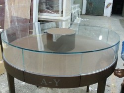 design original round display cabinet and showcase with leather for jewelry store