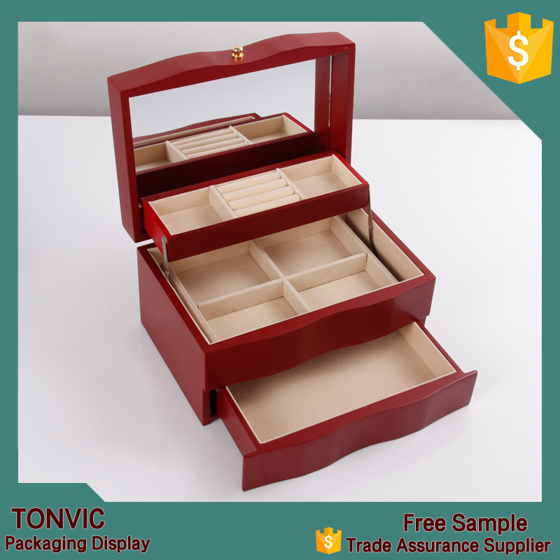 Wholesale solid cherry wood jewelry box with drawers buy for Solid wood jewelry chest