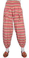red white striped casual outfits women cotton harem pants