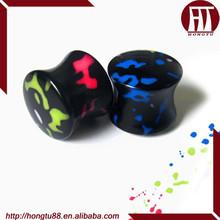 HT Black UV Acrylic Painters Logo Double Flared Saddle Plugs Ear Gauges Expander Stretcher Plugs