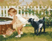 diy painting by numbers for bedroom GX7140 2015 new photo little girl and dog design