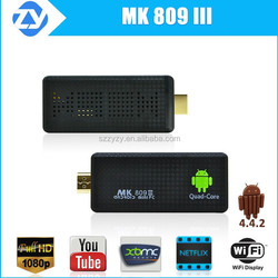 Best quad core android tv stick mk809 iii / 3 with xmbc with air mouse keyboard supported