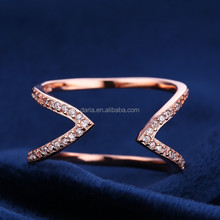 Fashionable arrow rose gold women ring mirco pave jewelry 925 sterling silver adjustable ring
