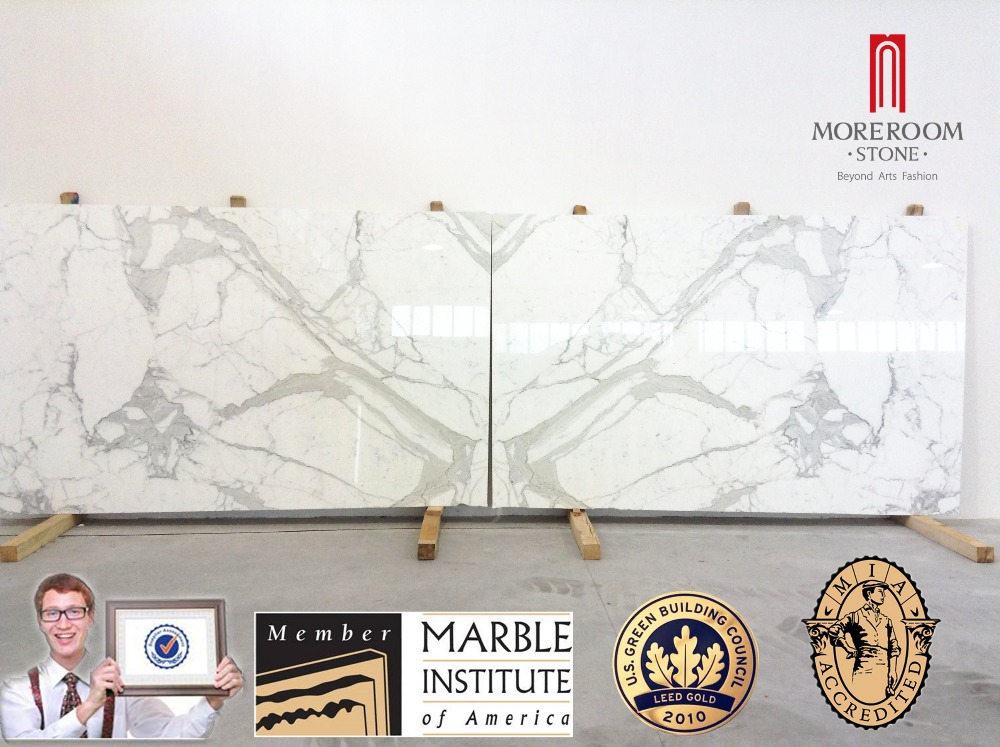 Bookmatched Calacatta Oro white marble slab.jpg