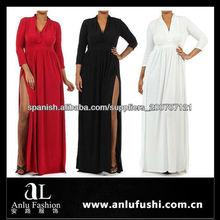 Las mujeres más largo Plunge Escote vestido de fiesta dos de alta de Split HF161