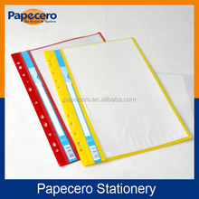 Perforated transparent colourful thin PP document file folder