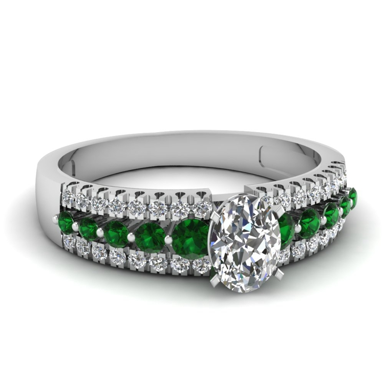 oval-shaped-diamond-triple-row-side-stone-engagement-ring-with-green-emerald-in-14K-white-gold-FDENS3014OVRGEMG.jpg