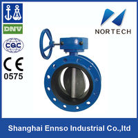 2014 high quality Double Flange screwed butterfly valve