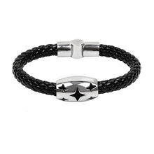 titanium steel leather bracelet magnetic closure star charm black bracelet debossed cross bracelet