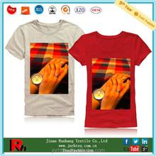 Good quality cotton o-neck digital printing tshirt women