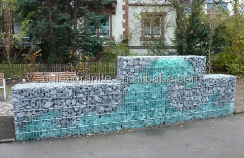 colored glass rock gabion