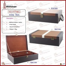 classical 2 bottles with wine glasses packing wood wine case
