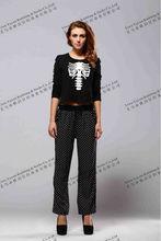 custom ladies leggings polka dot print womens printed pants /trousers straight bottom leggings