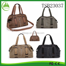 Vintage Men Military Canvas Leather Travel Bag Luggage Duffle Sport Tote Shoulder Canvas Gym Bag